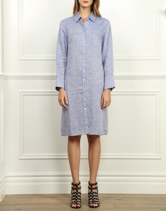 Kathleen Luxe Linen Shirtdress In Indigo