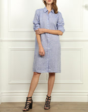 Load image into Gallery viewer, Kathleen Luxe Linen Shirtdress In Indigo
