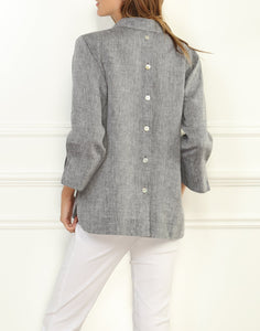 Aileen Luxe Linen Button Back Top
