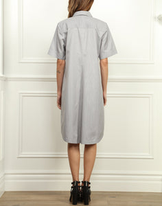 Lori A-line Shirtdress In Tahitian Pearl and White Mini Stripe