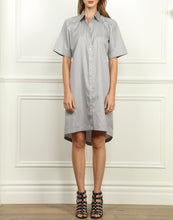 Load image into Gallery viewer, Lori A-line Shirtdress In Tahitian Pearl and White Mini Stripe