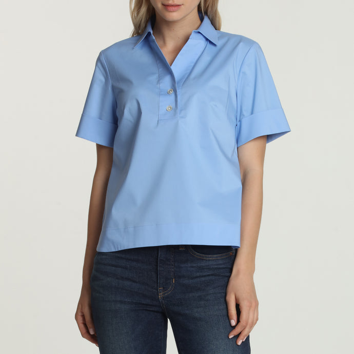 Aileen Shirt Collar Button Back Top