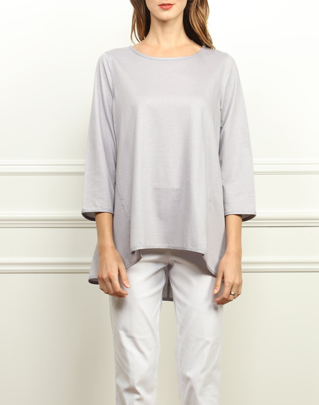 Cecilia A-line Knit Top In Silver