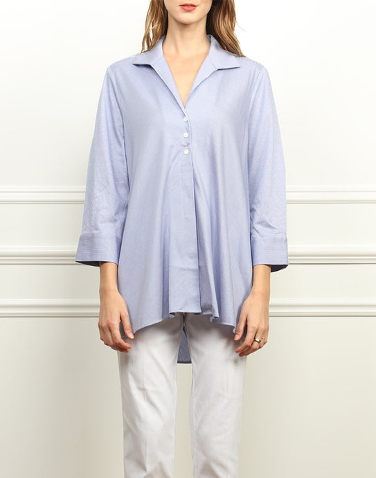 Betty Wing Collar A-line Tunic In Indigo/White Stripe Knit