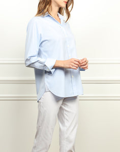 Meghan Luxe Cotton Relaxed Fit Shirt In Blue Mist