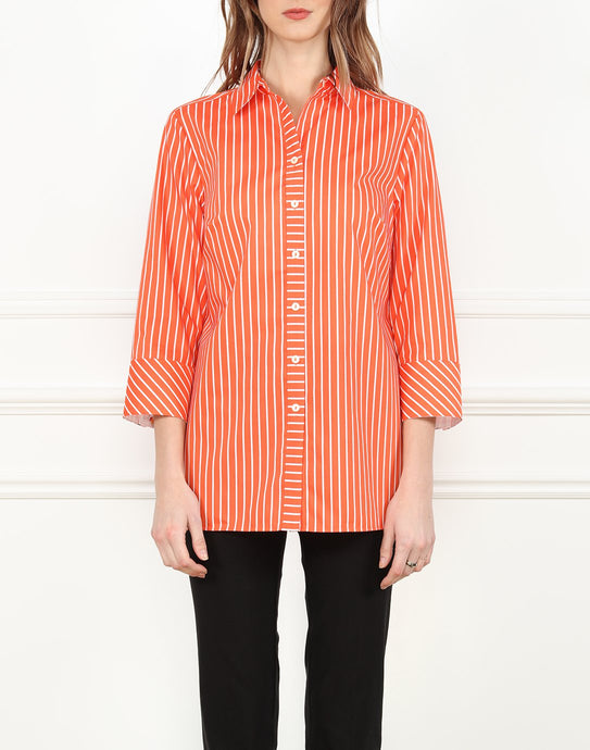 Monica 3/4 Sleeve Long Shirt In Orange/White Stripe
