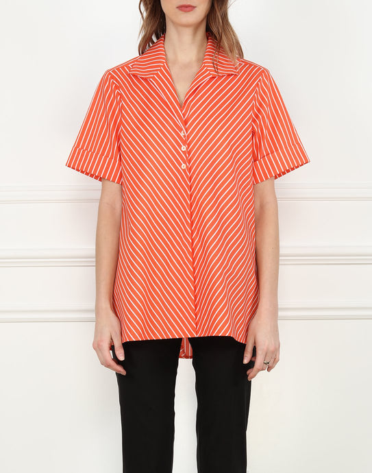 Betty Short Sleeve A-line Tunic In Orange/White Stripe