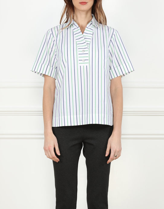 Aileen Shirt Collar Button Back Top In Stripe