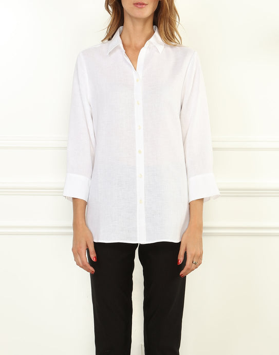 Meghan Luxe Linen 3/4 Sleeve Relaxed Fit Shirt