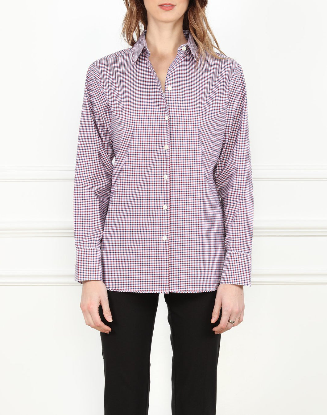 Margot Long Sleeve Relax Fit Shirt In Red/White/Blue Check