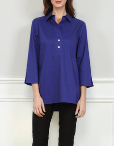 Aileen Button 3/4 Sleeve Back Tunic With Shirt Collar