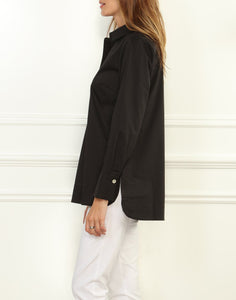 Aileen Button LS Back Tunic With Shirt Collar