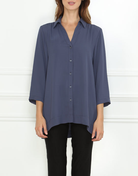 Mairina 3/4 Sleeve Draped Front Tunic In Mirage Blue