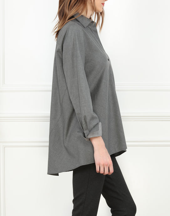 Becky Long Sleeve A-Line Tunic In Heather Charcoal
