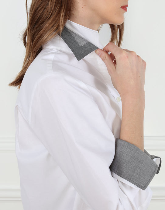 Meghan Luxe Cotton Relaxed Fit Shirt In White With Grey Trims