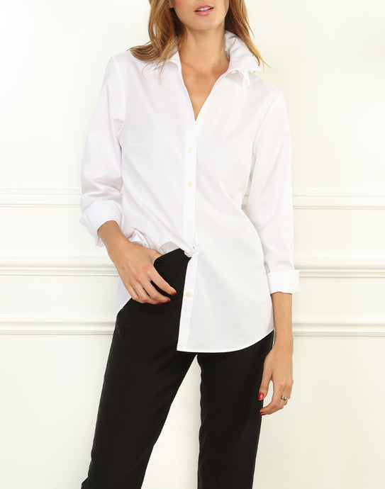 Amelia Luxe Cotton Double Collar Mixed Texture Shirt