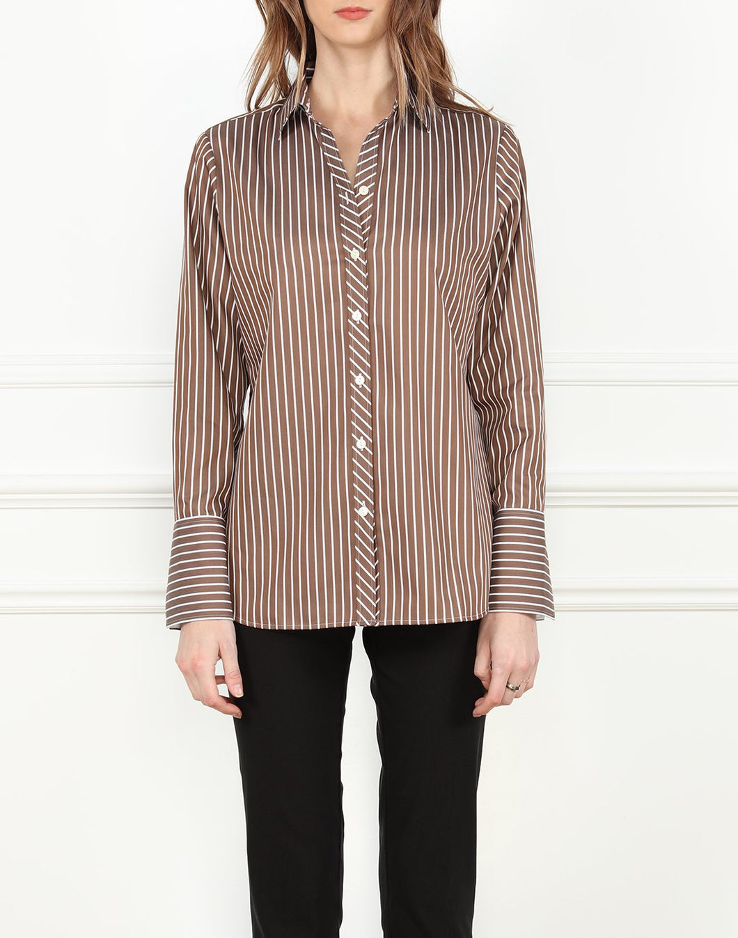 Meghan Relaxed Fit Shirt in Brown and White Stripe