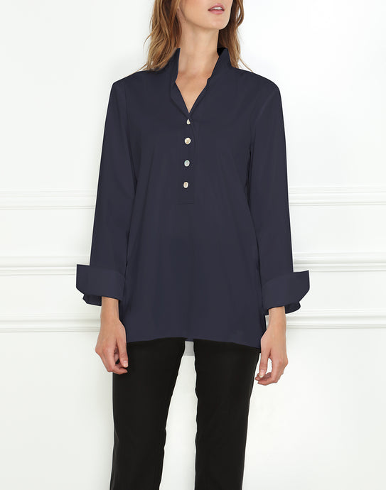 Celine Long Sleeve Stretch Luxe Cotton Tunic