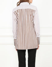 Load image into Gallery viewer, Estelle Classic Fit Tunic In Contrasting Brown and White Stripe