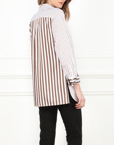 Estelle Classic Fit Tunic In Contrasting Brown and White Stripe