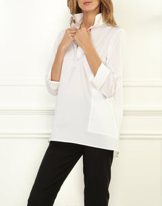 Salina Popover Top in White Stretch Luxe Cotton