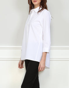 Isabella A-line 3/4 Sleeve Tunic In White