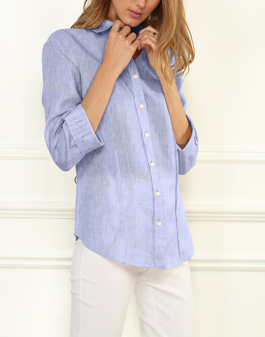 Sophia Luxe Linen 3/4 Sleeve Fitted Shirt