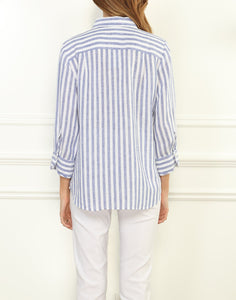 Iris Luxe Linen Relaxed Fit Shirt In Stripe