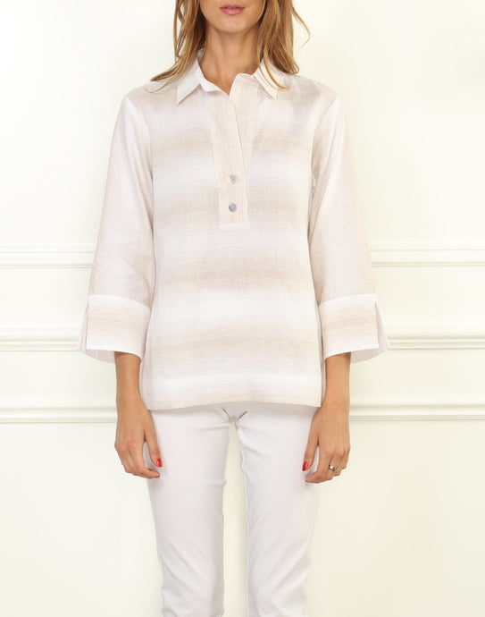 Aileen Luxe Linen Button Back Top In Ombre Flax Stripe
