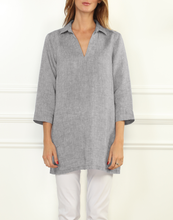 Load image into Gallery viewer, Mira Luxe Linen 3/4 Sleeve Button Back Tunic