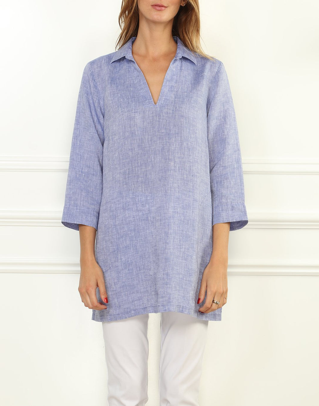 Mira Luxe Linen 3/4 Sleeve Button Back Tunic
