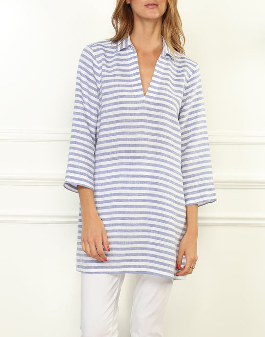Mira Luxe Linen 3/4 Sleeve Stripe Button Back Tunic