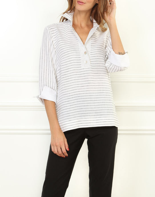Aileen Luxe Linen Button Back Top In White/Black Stripe