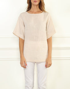 Fiona Luxe Linen Button Back Tee