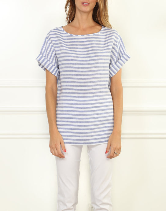 Fiona Luxe Linen Button Back Tee In Stripes