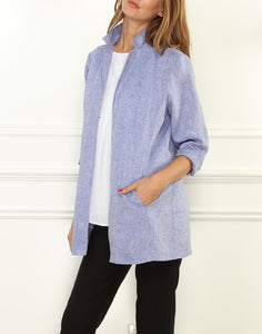 Haley Luxe Linen 3/4 Sleeve Notched Lapel Jacket