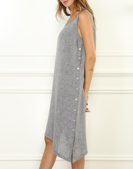 Ingrid Luxe Linen Sleeveless Dress