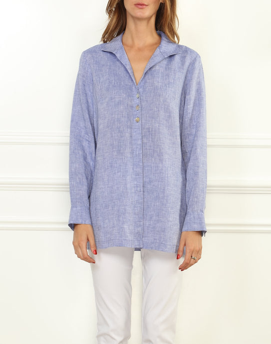 Beatrice Luxe Linen Long Sleeve Relaxed Fit Tunic