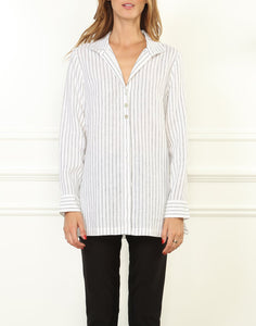 Beatrice Luxe Linen Long Sleeve Relaxed Fit Stripe Tunic