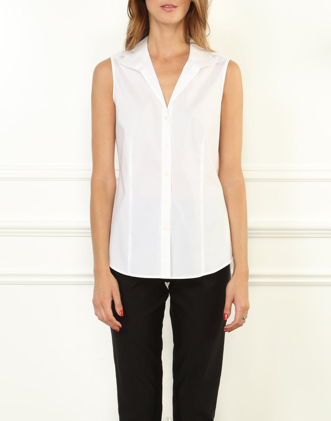 Joselyn Stretch Luxe Cotton Sleeveless Shirt