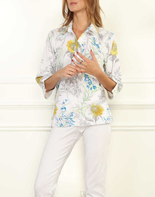 Aileen Luxe Cotton Button Back Top In Sunflower Print