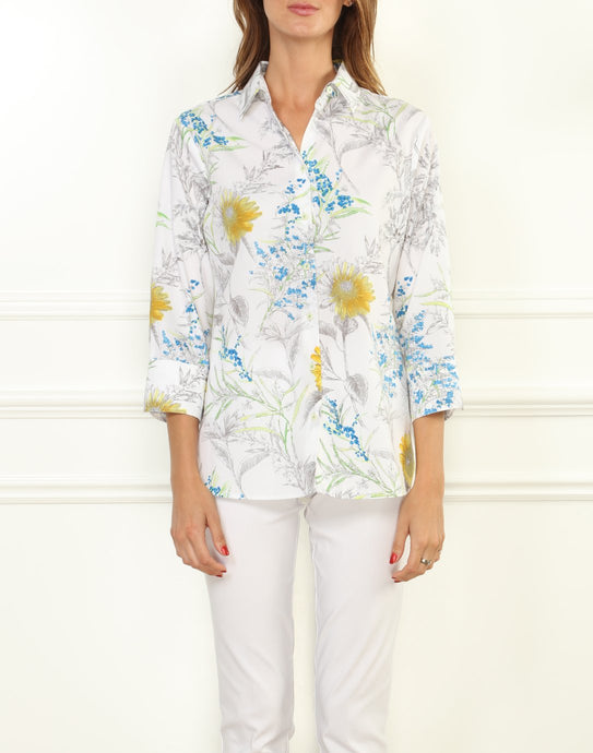 Margot Luxe Cotton 3/4 Sleeve Printed Sunflower Shirt
