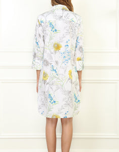 Kathleen Luxe Cotton 3/4 Sleeve Printed Sunflower Shirtdress