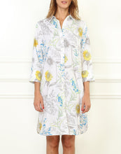 Load image into Gallery viewer, Kathleen Luxe Cotton 3/4 Sleeve Printed Sunflower Shirtdress