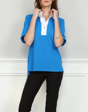 Load image into Gallery viewer, Aileen Short Sleeve Woven Trimmed Polo With Back Buttons