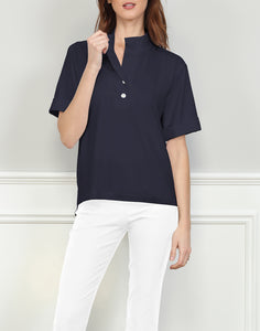 Aileen Short Sleeve Woven Trimmed Polo With Back Buttons