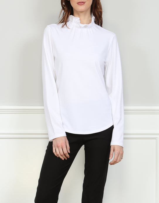 Georgia Long Sleeve Ruffle Neck Tee