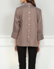Load image into Gallery viewer, Aileen 3/4 Sleeve Brown/White Stripe Top