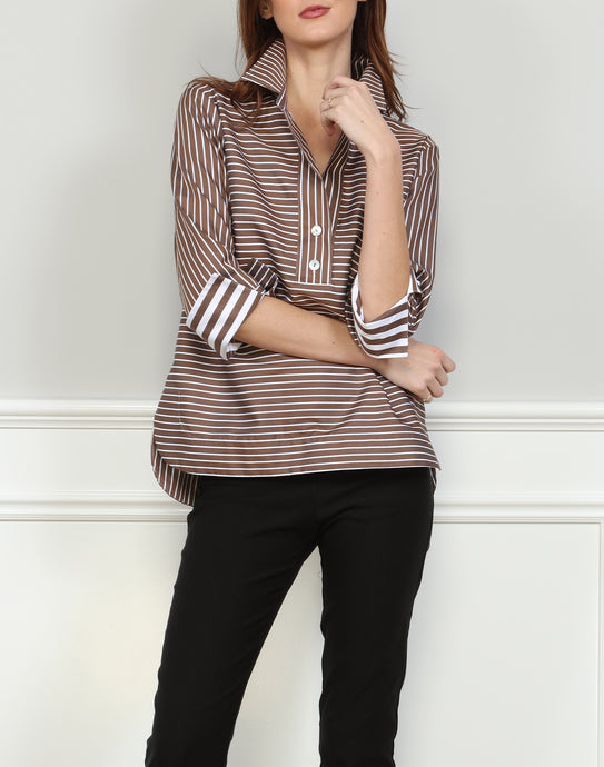 Aileen 3/4 Sleeve Brown/White Stripe Top