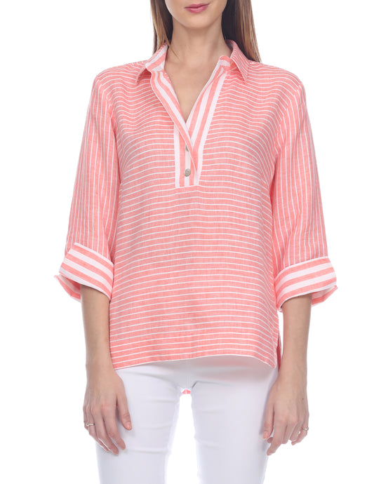 Aileen Stripe Luxe Linen Button Back Top